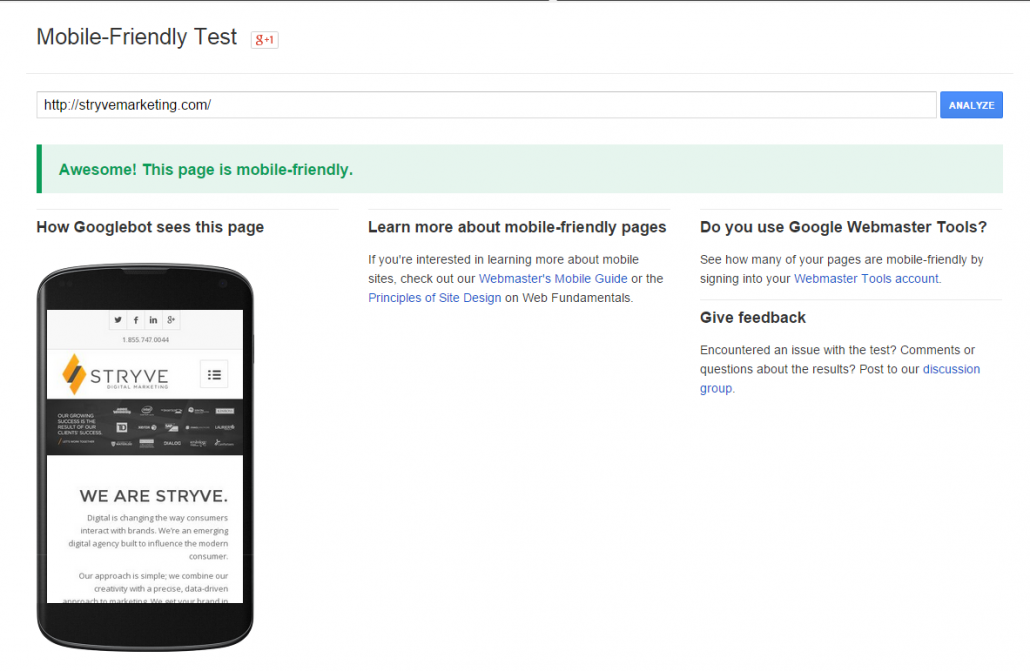 Results from testing our homepage